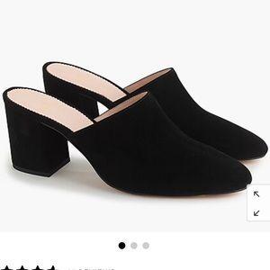 Jcrew high block heel suede mules black 7.5